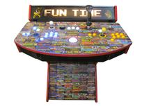 725 2-player, yellow buttons, blue buttons, lighted, white trackball, red trim, black trim, tron joystick, spinner, fun time, arcade game pics
