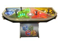 754 4-player, yellow buttons, green buttons, blue buttons, red buttons, lighted, red trackball, silver trim, nintend classics