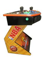 757 4-player, green buttons, blue buttons, red buttons, white buttons, white trackball, orange trim, black trim, spinner, nba jams, wood grain