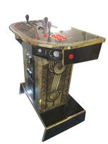 807 2-player, red buttons, black buttons, black trackball, gold trim, gold and black machine