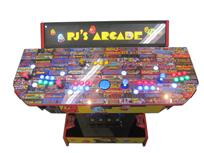 851 4-player, yellow buttons, green buttons, blue buttons, red buttons, lighted, blue trackball, red trim, pjs arcade, pac man theme