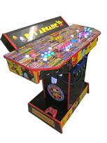 854 4-player, yellow buttons, green buttons, blue buttons, red buttons, lighted, blue trackball, red trim, pjs arcade, pac man