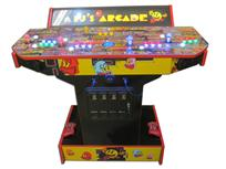 855 4-player, yellow buttons, green buttons, blue buttons, red buttons, lighted, blue trackball, red trim, pjs arcade, pac man
