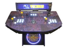 975 2-player, white buttons, lighted, clear trackball, purple trim, tron joystick, spinner, vikings football