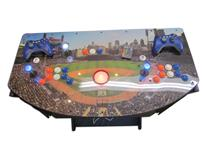 979 2-player, blue buttons, orange buttons, white buttons, red trackball, black trim, detroit baseball