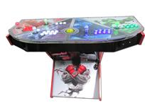1017 4-player, green buttons, purple buttons, red buttons, white buttons, lighted, yellow trackball, black trim, silver trim, street fighter