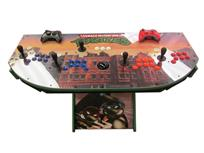 1020 4-player, blue buttons, purple buttons, red buttons, orange buttons, white buttons, black trackball, green trim, black trim, tmnt