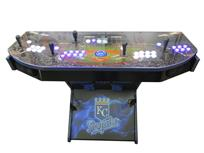 1083 4-player, blue buttons, white buttons, lighted, blue trackball, blue trim, kc royals, baseball