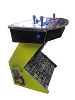 1084 2-player, blue buttons, red buttons, blue trackball, silver trim, spinner, pedestal arcade, pac man