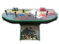 1091 4-player, blue buttons, purple buttons, red buttons, orange buttons, black trackball, green trim, tmnt