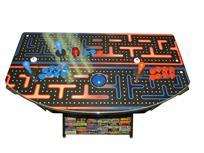 1092 2-player, blue buttons, red buttons, blue trackball, silver trim, spinner, pac man top ,game logos base