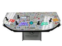 1094 4-player, green buttons, purple buttons, red buttons, white buttons, lighted, green trackball, silver trim, marcus brown properties