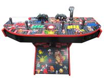 1186 4-player, yellow buttons, green buttons, blue buttons, red buttons, red trackball, red trim, tron joystick, spinner, pacman, dk,and others