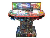 1189 4-player, yellow buttons, green buttons, blue buttons, red buttons, lighted, green trackball, blue trim, orange trim, tron joystick, spinner, marvel, dc