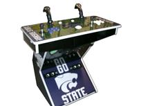 266 2-player, sports, football, kansas, wildcats, blue buttons, white buttons, white trackball, tron joystick, dual tron joysticks