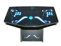 255 2-player, lighted, grid, blue, black, blue buttons, blue trackball