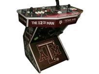242 2-player, texas a&m, white buttons, red buttons, white trackball, tron joystick, spinner