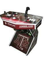 241 2-player, texas a&m, white buttons, red buttons, white trackball, tron joystick, spinner