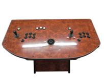 359 2-player, wood grain, black buttons, black trackball, white buttons