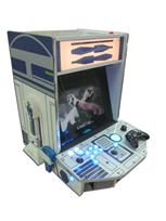 775 2-player, blue buttons, lighted, blue trackball, silver trim, spinner, star wars