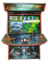 568 4-player, blue buttons, orange buttons, lighted, orange trackball, orange trim, tron joystick, tron