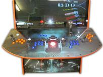 569 4-player, blue buttons, orange buttons, lighted, red trackball, orange trim, tron joystick, tron