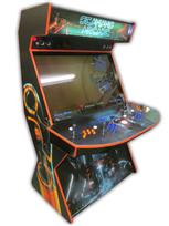 571 4-player, blue buttons, orange buttons, lighted, red trackball, orange trim, tron joystick, torn