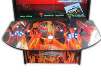 573 4-player, blue buttons, orange buttons, lighted, red trackball, black trim, tron joystick, spinner, nba jam, flames