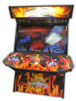 575 4-player, blue buttons, orange buttons, lighted, red trackball, orange trim, tron joystick, spinner, nba jams, flames