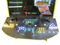 592 4-player, yellow buttons, blue buttons, lighted, blue trackball, yellow trim, tron joystick, spinner, tron, megacade