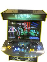 593 4-player, yellow buttons, blue buttons, lighted, blue trackball, yellow trim, tron joystick, spinner, tron, megarcade