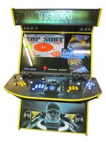 594 4-player, yellow buttons, blue buttons, lighted, black trackball, yellow trim, tron joystick, spinner, tron, megacade