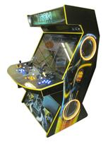 595 4-player, yellow buttons, blue buttons, lighted, blue trackball, yellow trim, tron joystick, spinner, tron, megacade