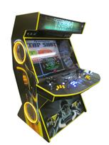 596 4-player, yellow buttons, blue buttons, lighted, blue trackball, yellow trim, tron joystick, spinner, tron, meagcade