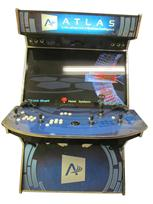 623 4-player, blue buttons, white buttons, black trackball, yellow trim, tron joystick, atlas