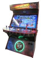 728 4-player, blue buttons, red buttons, lighted, orange trackball, red trim, black trim, tron joystick, spinner, strykers arcade