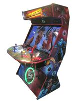 729 4-player, blue buttons, red buttons, lighted, orange trackball, red trim, black trim, tron joystick, spinner, strykers arcade