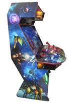730 4-player, blue buttons, red buttons, lighted, orange trackball, red trim, black trim, tron joystick, spinner, strykers arcade