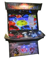 731 4-player, blue buttons, red buttons, lighted, blue trackball, black trim, tron joystick, spinner, supercade, super bowl