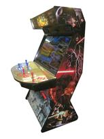 734 4-player, blue buttons, red buttons, lighted, blue trackball, black trim, star wars, fight scene