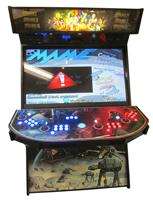 736 4-player, blue buttons, red buttons, lighted, blue trackball, black trim, star wars, fight scene