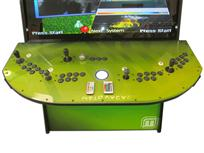 784 4-player, black buttons, clear trackball, black trim, spinner, green