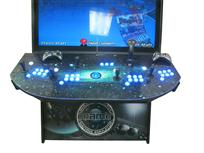 864 4-player, blue buttons, lighted, blue trackball, black trim, tron joystick, mame, space