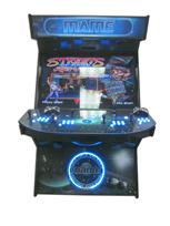 867 4-player, blue buttons, lighted, blue trackball, black trim, tron joystick, mame, space