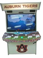 877 4-player, white buttons, lighted, green trackball, grey trim, auburn tigers, players