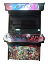 892 4-player, green buttons, red buttons, blue trackball, black trim, marvel dc, battle