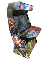 893 4-player, blue buttons, red buttons, blue trackball, black trim, marvel dc, spiderman captain america