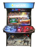 896 4-player, blue buttons, red buttons, lighted, red trackball, black trim, spinner, capecade, starwars