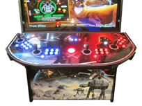 897 4-player, blue buttons, red buttons, lighted, red trackball, black trim, spinner, capecade, star wars