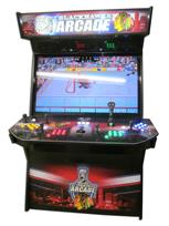 921 4-player, yellow buttons, green buttons, blue buttons, red buttons, lighted, black trackball, black trim, tron joystick, chicago blackhawks arcade